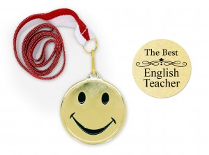 Medal emotka na dzień nauczyciela The best english teacher